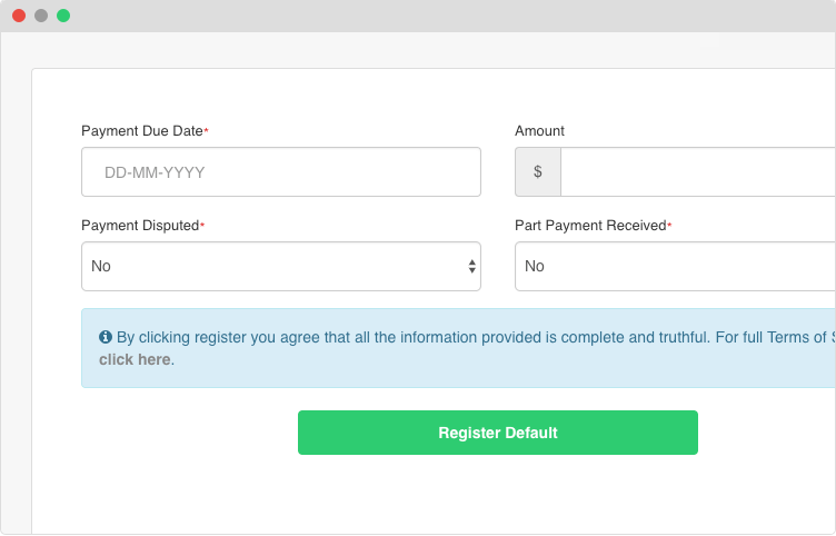 register a business payment default